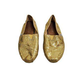 Toms Gold Glitter Flats 6 Womens Sparkle Wrap Slip